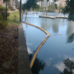 Aquatic silt boom in place
