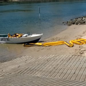 Silt and sediment booms ready for deployment